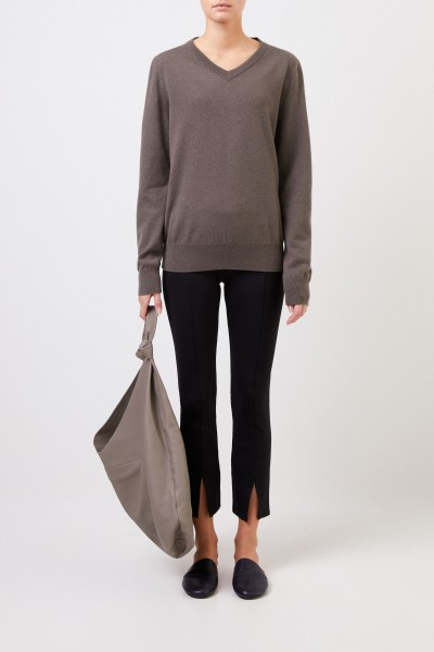 Cashmere sweater 'Maley' with V-Neck Grey/Green