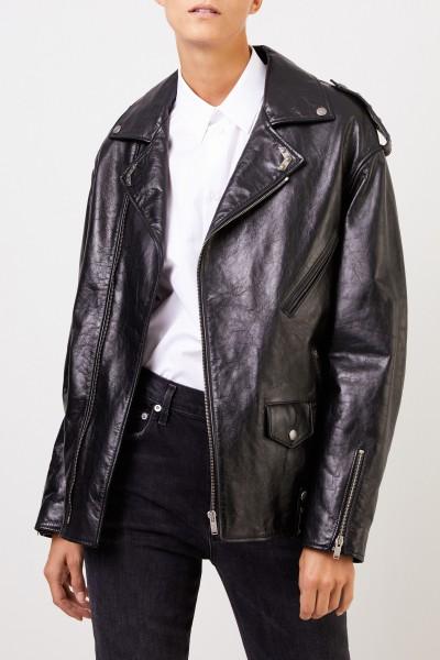 Saint Laurent Leather jacket with details Black