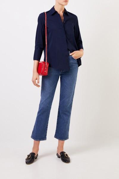 Klassische Bluse mit breiten Manschette Marineblau