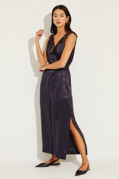 Silk jumpsuit with wrap detail and lace Blue