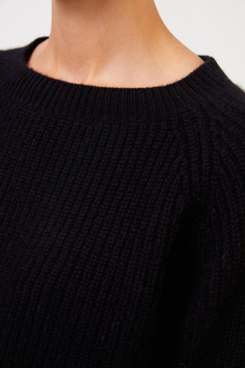 Uzwei Rippstrick-Cashmere-Pullover Schwarz