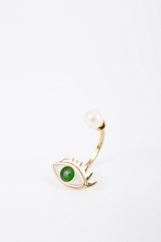 Delfina Delettrez Ohrring mit Perle 'Eye' Gold/Grün