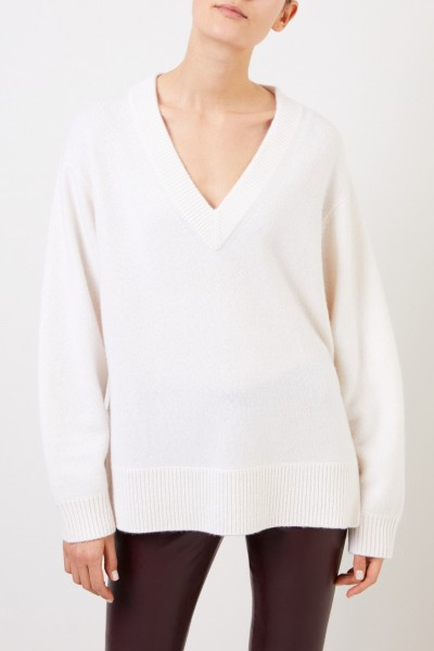 Vince Cashmere Sweater with V-Neck White