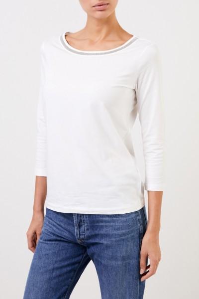 Fabiana Filippi Basic Shirt mit Perlenverzierung Weiß