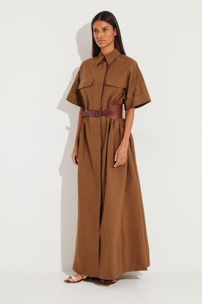 Baumwoll-Hemdblusenkleid mit Gürtel Braun