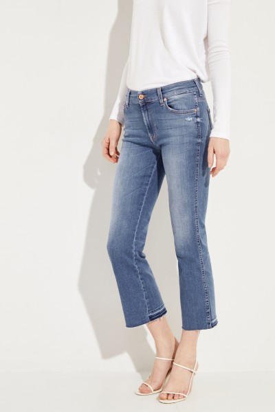 Jeans 'Cropped Boot' Blau