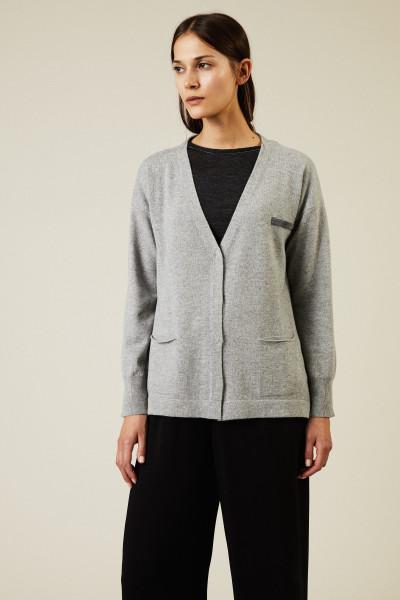 Oversize Woll-Seiden-Cardigan mit Perlenverzierung Grau