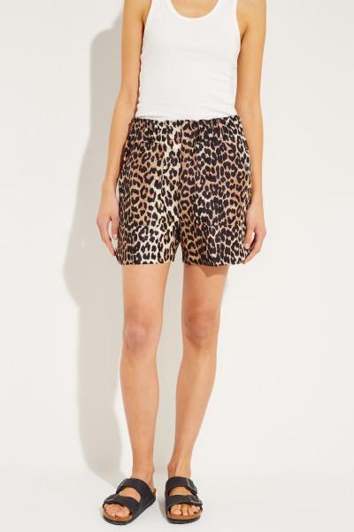 Seide-Leinen-Shorts mit Leoprint Multi