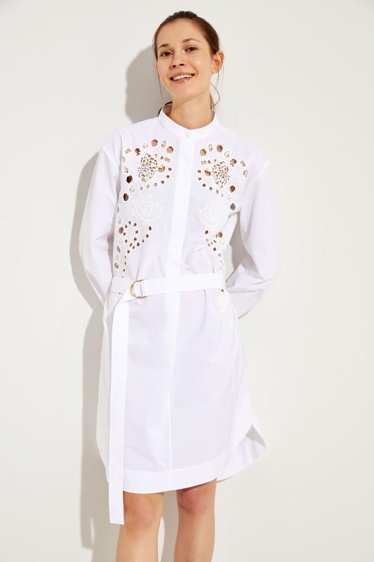 Chloé Baumwoll-Kleid mit Lochmuster Weiß