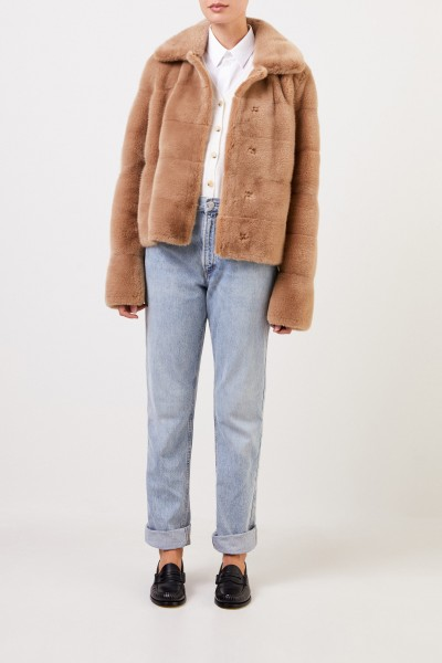 Yves Salomon Short mink jacket Light Brown