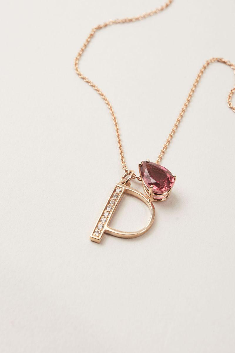 Buchstaben-Anhänger 'Letter P' mit Diamanten 18 Karat Roségold