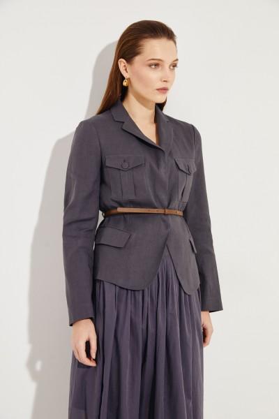 Baumwoll-Leinen-Blazer mit Gürtel Grau
