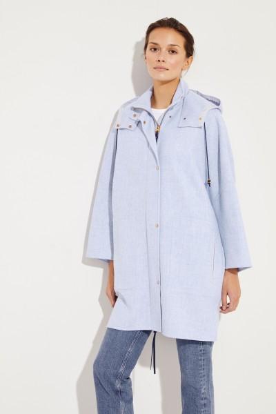 Wool cashmere parka Blue