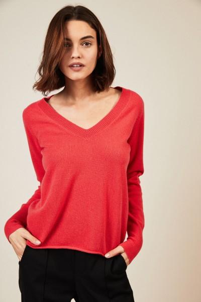 V-Neck Cashmere-Pullover Pink