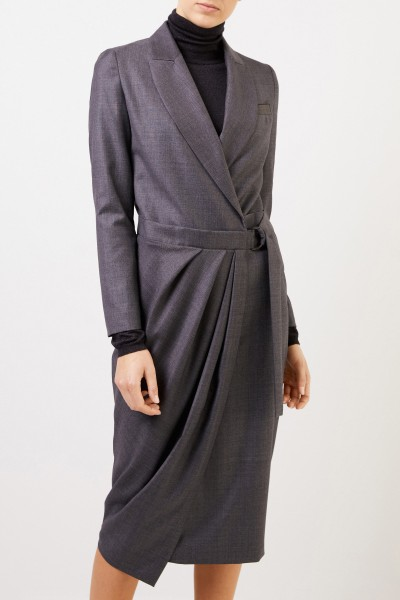 Brunello Cucinelli Wool shirt blouse dress with wrap detail Anthracite