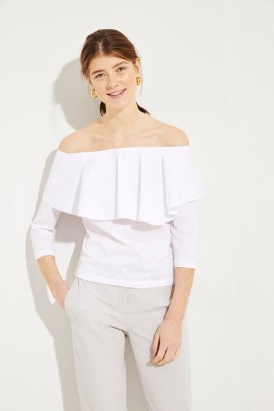 Baumwoll-Shirt mit Volant Weiß
