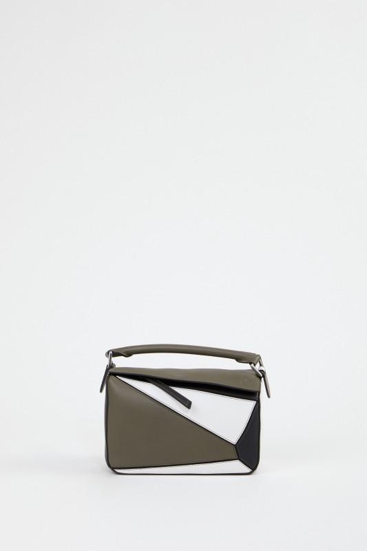 Loewe Tasche 'Puzzle Bag Small' Khaki/Weiß