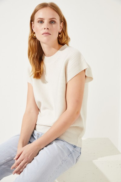 Kurzarm Woll-Cashmere-Pullover Crème