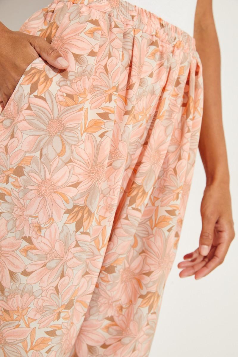 Seiden-Hose mit floralem Print Multi