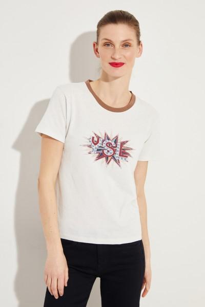 T-Shirt mit frontalem Logo-Detail Hellgrau