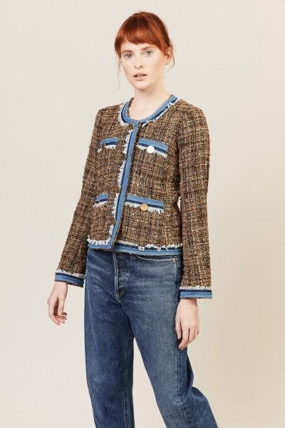 Tweed-Blazer mit Jeansstoff-Details Multi