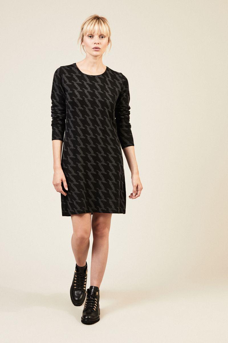 Cashmere-Kleid 'Vivione' mit Hahnentrittmuster Anthrazit