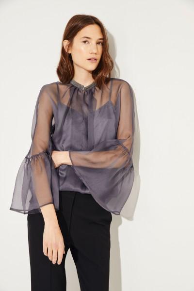 Zweiteilige Seiden-Bluse mit verziertem Kragen Grau