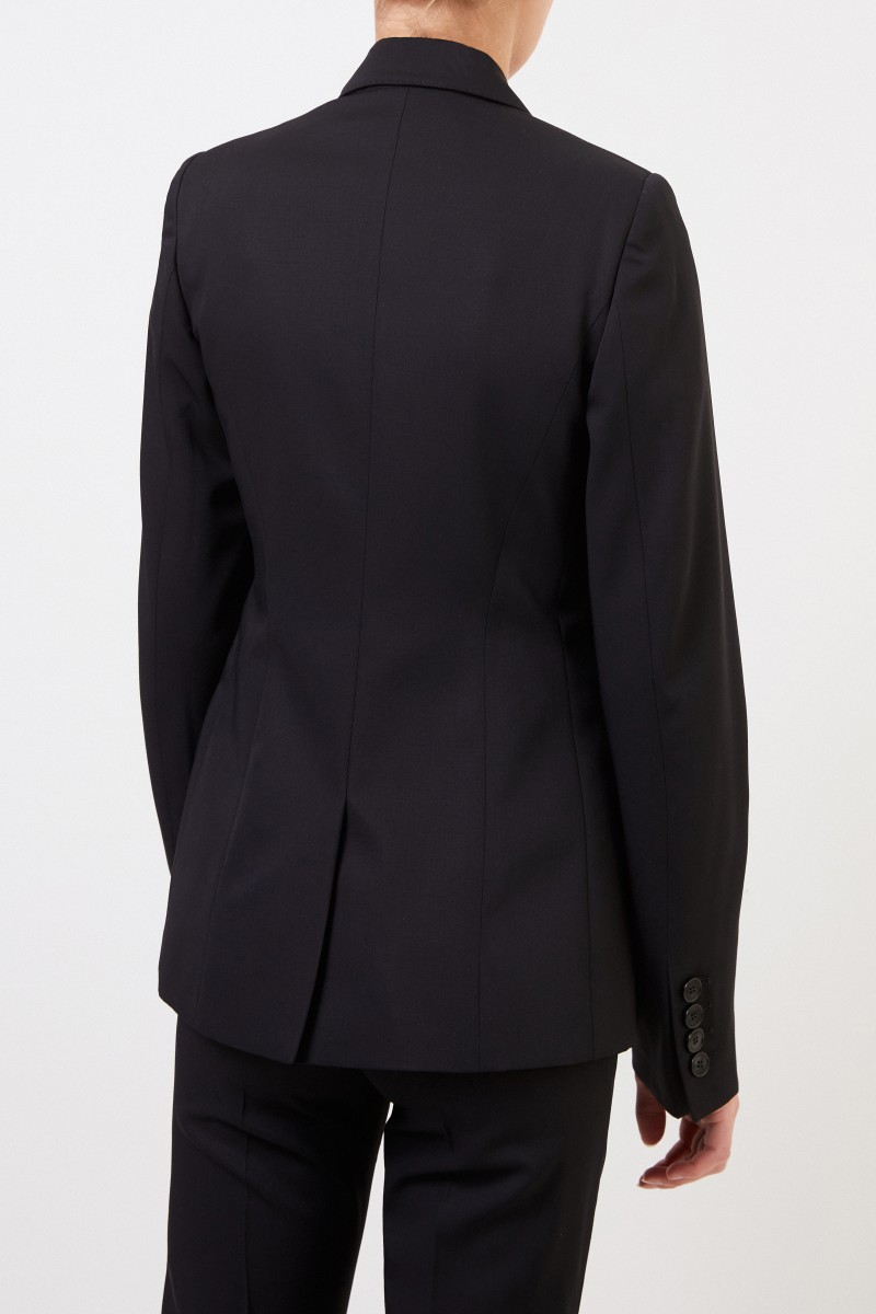 Wool blazer with quilted seam Black