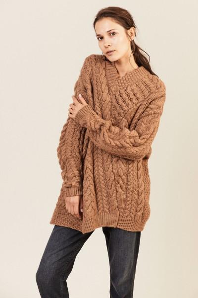 Woll-Alpaca-Pullover Braun