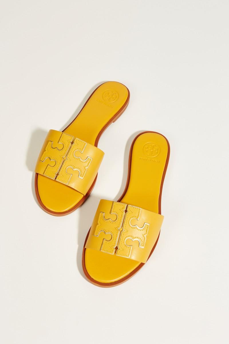 Leder-Sandale 'Ines' mit Logo Gelb