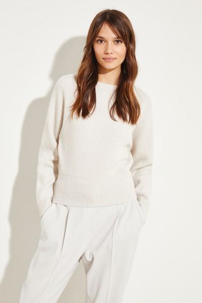 Rippstrick Cashmere-Pullover Beige