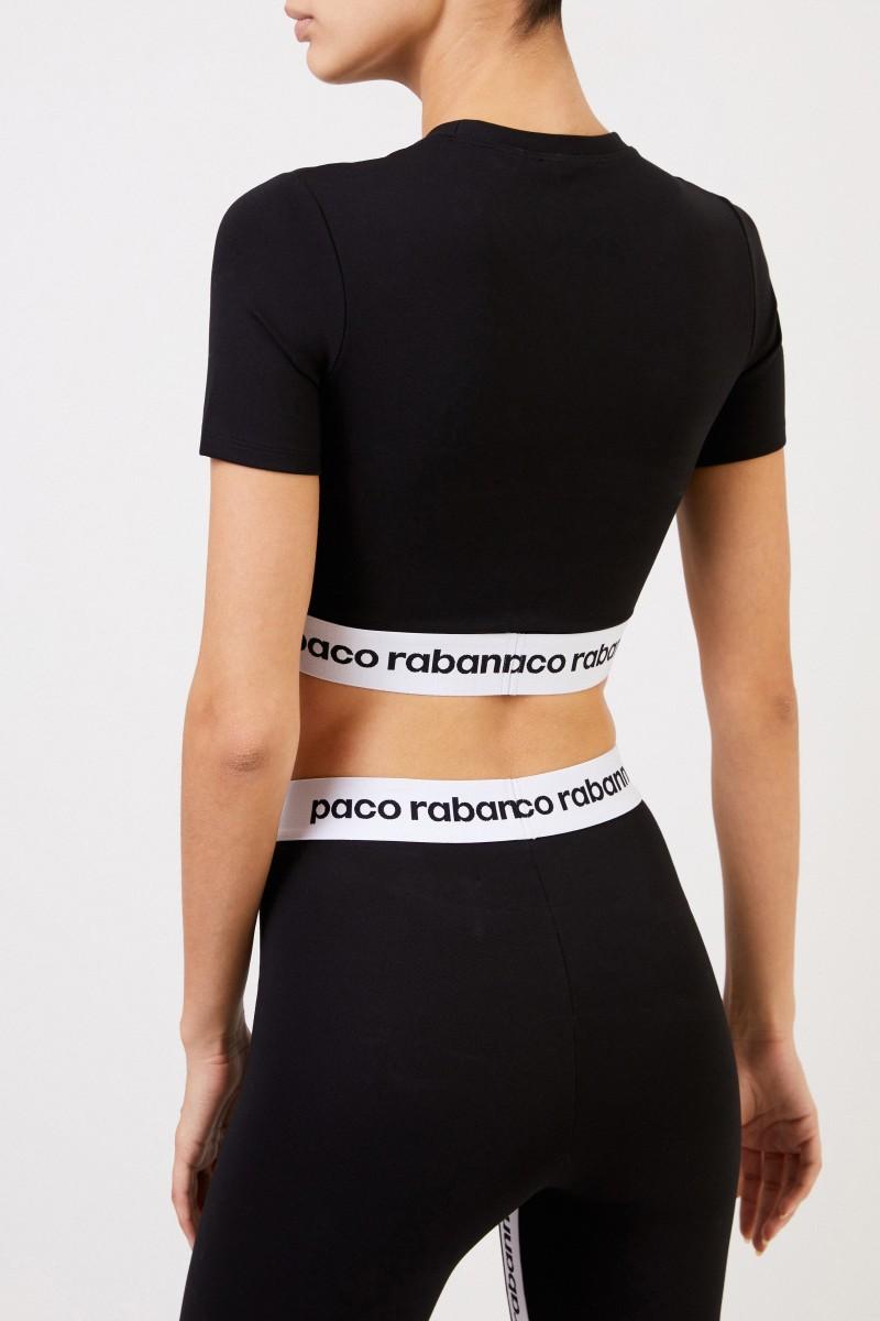Paco Rabanne Oberteil mit Logo-Schriftzug Schwarz