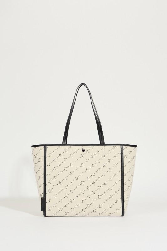 Tote Bag mit Monogramm Sand/Schwarz