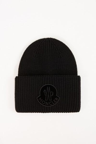 Moncler Wool cap with velvet logo Black