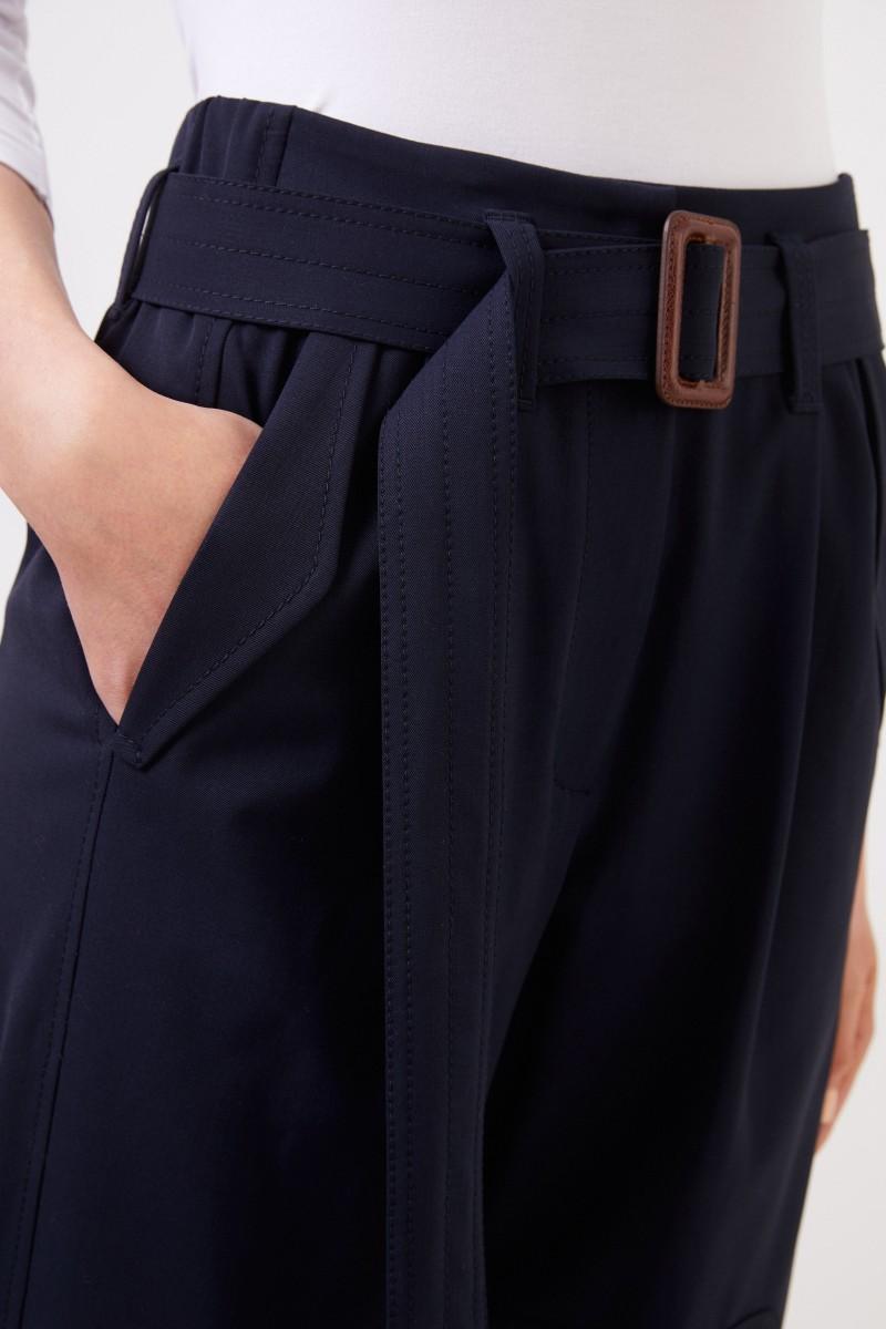 Brunello Cucinelli Woll-Hose mit Gürtel Marineblau