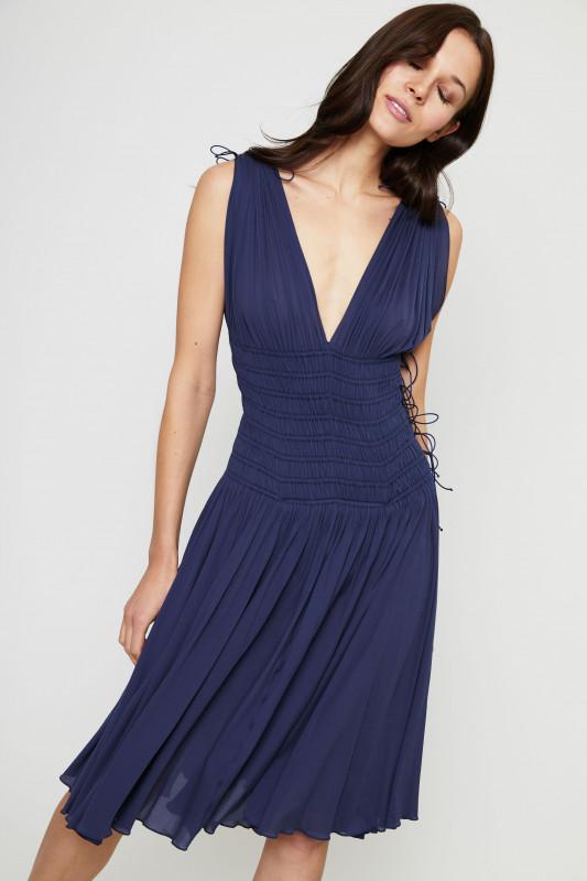 Cupro-Kleid mit Schnürdetails Cobalt