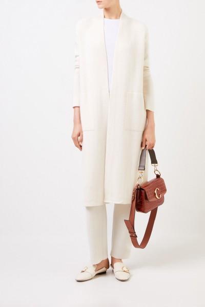 Doubleface cashmere-silk coat 'Polla' with hood Taupe/Ecru