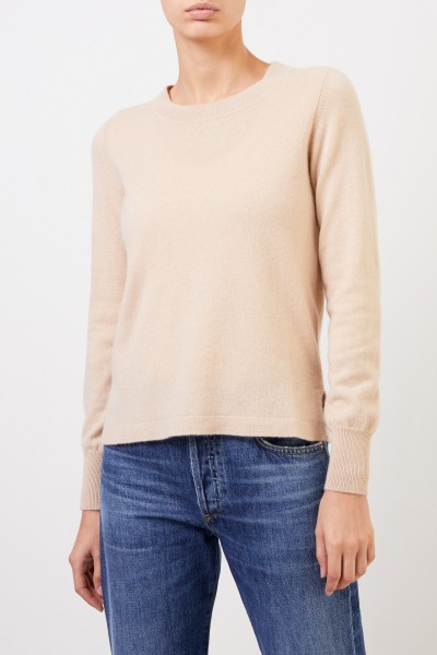 Allude Cashmere pullover with slits Camel