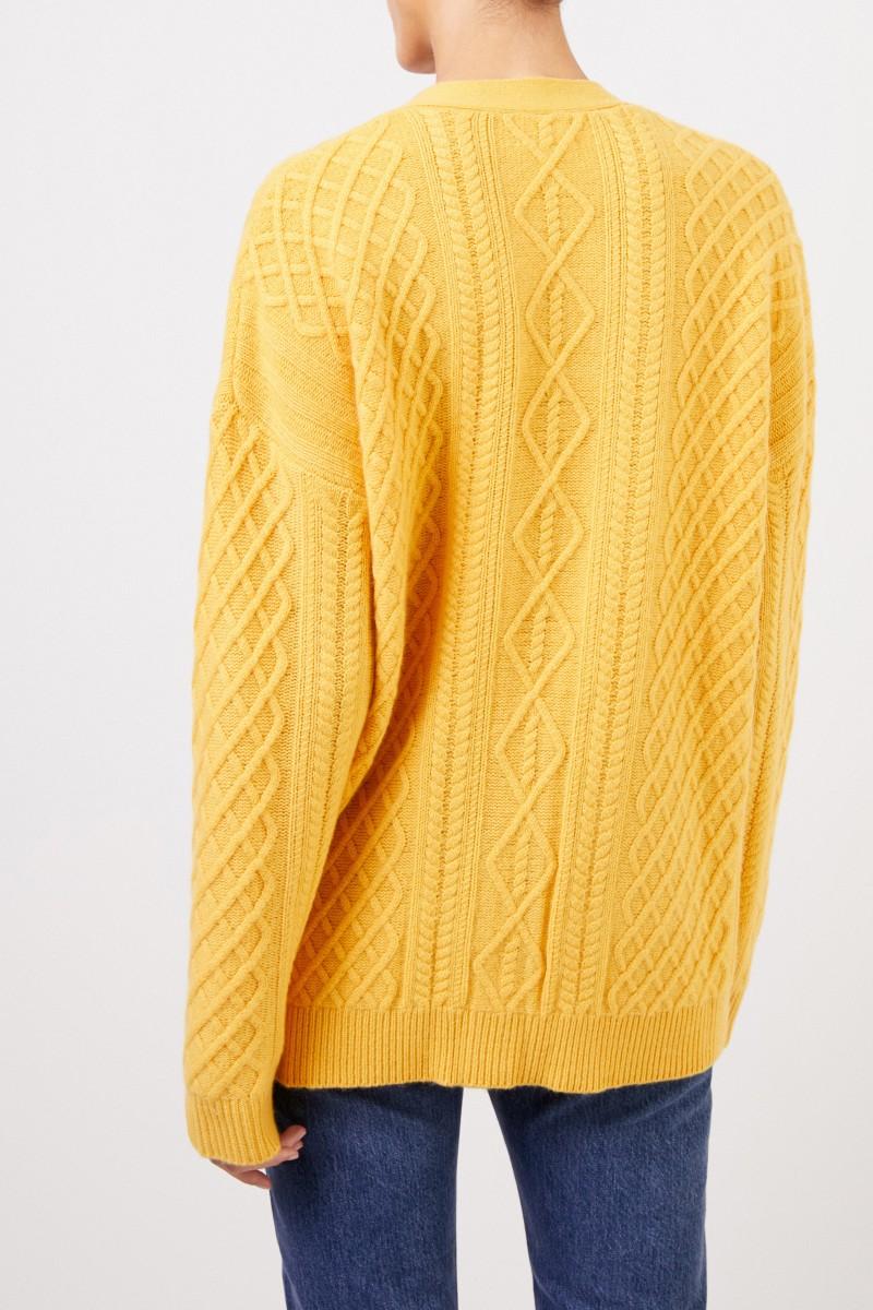 Uzwei Cashmere-Cardigan mit Zopfmuster Gelb