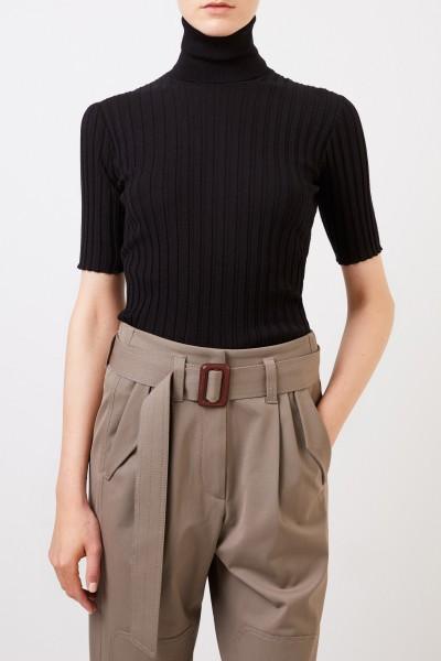 Bottega Veneta Short sleeve rib knit sweater Black