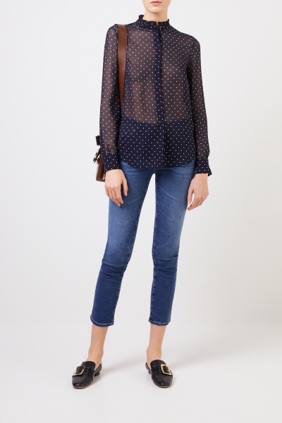 Silk blouse with polka dots 'Marthe' Blue