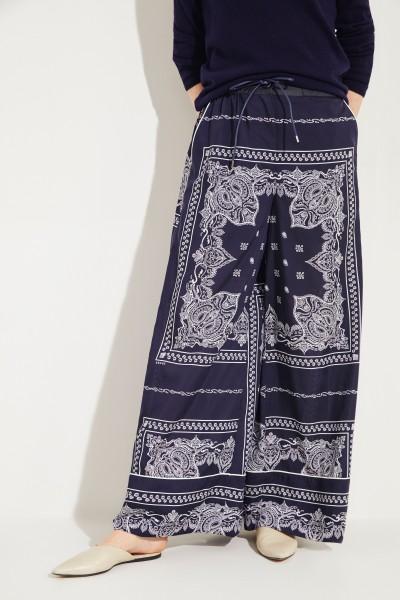 Weite Hose mit Print Blau/Weiß