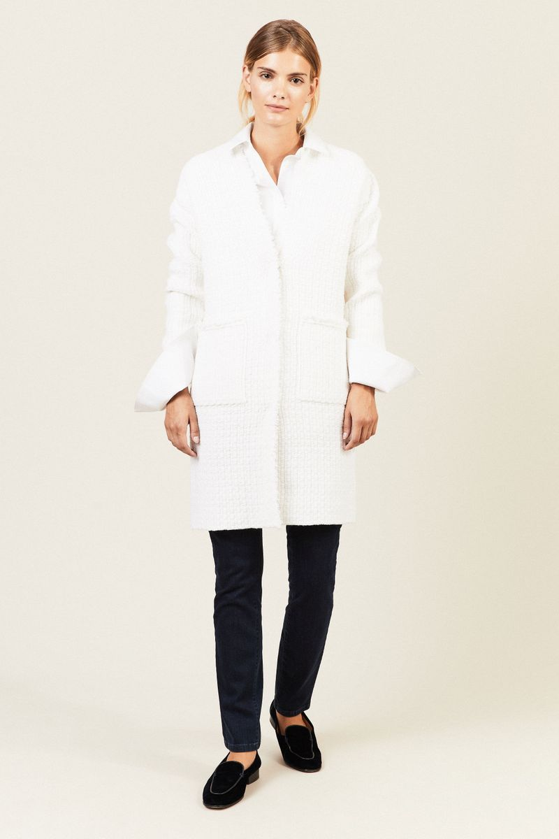 Oversize Cashmere-Cardigan 'Aurora' Weiß
