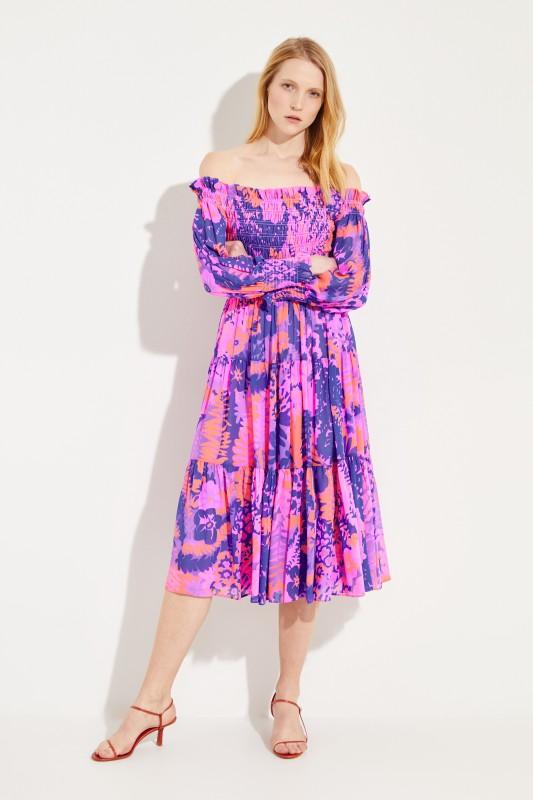 Off-Shoulder Kleid mit floralem Print Multi