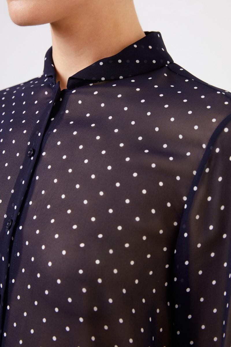Seidenbluse mit Polka-Dots 'Marthe' Marineblau