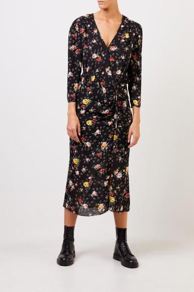 Veronica Beard Seidenkleid 'Arielle' mit floralem Print Schwarz/Multi