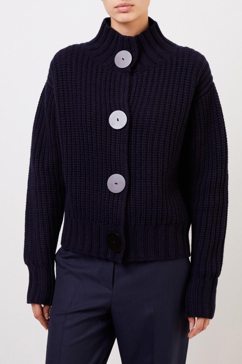 The Row Cashmere-Cardigan mit Hornknöpfen Marineblau