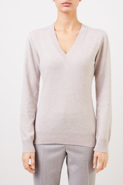 Fabiana Filippi Woll-Seiden-Pullover mit Lurex-Detail Taupe Melange