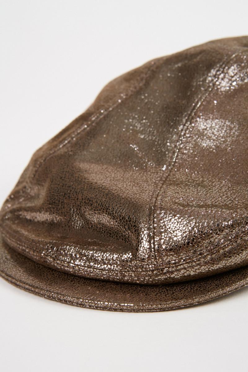 Brunello Cucinelli Leder-Mütze Metallic