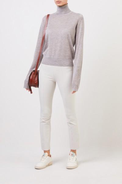 Feiner Cashmere-Pullover mit Turtleneck Hellgrau